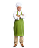Chef man. Senior professional chef man. Isolated over white background royalty free stock image