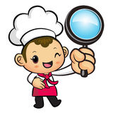 Chef mascot examine a with a magnifying glass. Work and Job Char Stock Photos