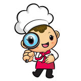 Chef mascot examine a with a magnifying glass. Work and Job Char Stock Photo