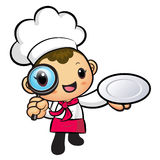 Chef mascot examine a with a magnifying glass. Work and Job Char Stock Images