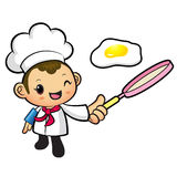 Chef Mascot the hand is holding a frying pan. Work and Job Chara Stock Photography