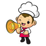 Chef Mascot the hand is holding a loudspeaker. Work and Job Char Stock Image