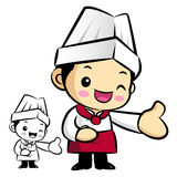 Chef mascot Suggests the direction. Work and Job Character Desig Royalty Free Stock Photos