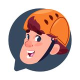 Chef masculin d'icône de profil dans la bulle de causerie d'isolement, jeune homme en portrait de personnage de dessin animé d'av Photographie stock
