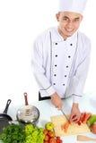 Chef masculin préparant de la nourriture Images libres de droits