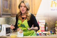 Chef Melissa dArabian. Harrisburg, PA - January 8, 2017: Celebrity Chef Melissa d`Arabian, the host of the Food Network`s Ten Dollar Dinners show, provides a stock photos