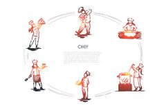 Chef - men and women in special uniform cooking, serving and presenting food vector concept set. Hand drawn sketch isolated illustration stock illustration