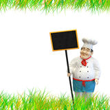 Chef with menu. Expert chef with black menu royalty free stock photo