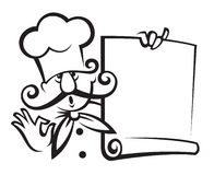 Chef with menu. Monochrome illustration of chef with menu in hand Stock Photo