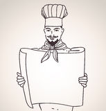 Chef with menu Royalty Free Stock Photography