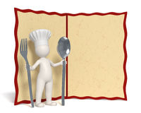Chef and menu with copyspace Royalty Free Stock Photo