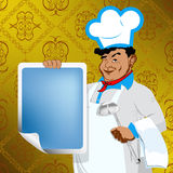 Chef and menu food Stock Images