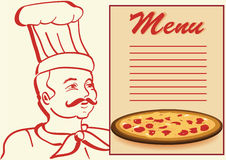 Chef with menu and pizza. Stock Image