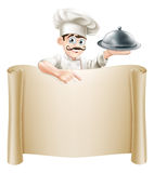 Chef Menu Scroll. A cartoon chef character holding a silver platter or cloche pointing at a scroll or menu Royalty Free Stock Images