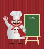 Chef with Menu Sign Illustration Royalty Free Stock Photo