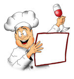 Chef With Menu001. Cartoon image of a Chef holding a menu and a glass of wine Stock Photography