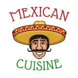 Chef mexicain national de cuisine dans le sombrero Image libre de droits