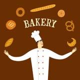 Chef migty tiré par la main avec le logo Photos stock