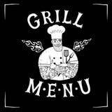 Chef migty tiré par la main avec le logo de restaurant Photos libres de droits