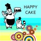 Chef mit Kuchen und Katze Stockbild