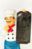 Chef mit Menü Stockfotos