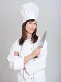 Chef mit Messer lizenzfreie stockfotos