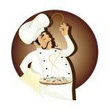 Chef mit Pizza Stockbild