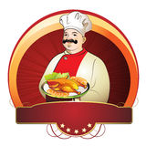 Chef mit Platte Stockfoto