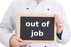 Chef mit Tafel: aus Job heraus Lizenzfreie Stockfotografie