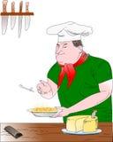 Chef mit Teigwarenteller Stockbild