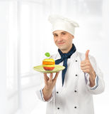 Chef with mixed fruits Stock Photos