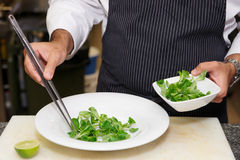Chef is mixing salad Royalty Free Stock Image
