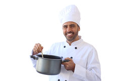 Chef mixing soup Royalty Free Stock Photography