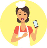 Chef with mobile device stock illustration