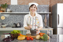 Chef with mortar Royalty Free Stock Photos