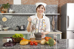 Chef with mortar Stock Photography