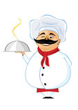 Chef with mustache holding silver serving dome Royalty Free Stock Image