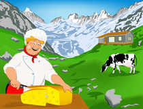 Chef and Natural swiss dairy cheese Royalty Free Stock Images