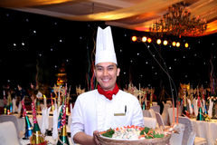 Chef in new year gala dinner. Banquette Stock Photos