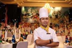 Chef in new year gala dinner stock photography