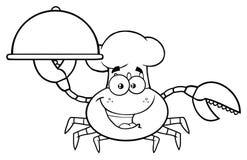 Chef noir et blanc Cartoon Mascot Character de crabe tenant un plateau illustration de vecteur