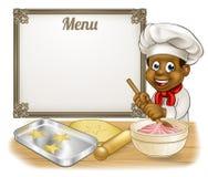 Chef noir Menu Sign de Baker ou de pâtisserie Photographie stock libre de droits