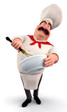 Chef with noodle pot Royalty Free Stock Image