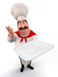 Chef with noodles plate Stock Photo