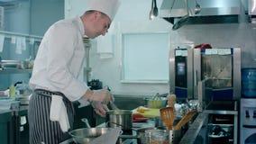 Chef occupé faisant cuire la purée de pommes de terre avec un favori dans la cuisine professionnelle clips vidéos