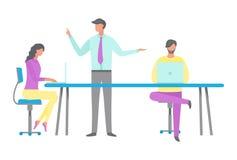 Chef och arbetare i regeringsställning, plan stilvektor vektor illustrationer