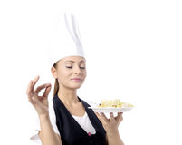 Chef offering vegetarian meal Stock Photos