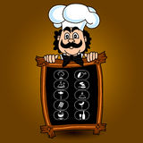 Chef offers a menu and a set of food icons, vector illustration. Stock Photo