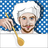 Chef offers to come to dinner. Pop Art Vector Illustration royalty free illustration