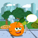 Chef orange holding pizza with attitude in the city park with speech bubble Stock Images